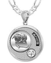 Aries Necklace In Round Shape - 4mm Figaro Chain