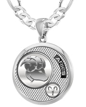 Aries Necklace In Round Shape - 6mm Figaro Chain