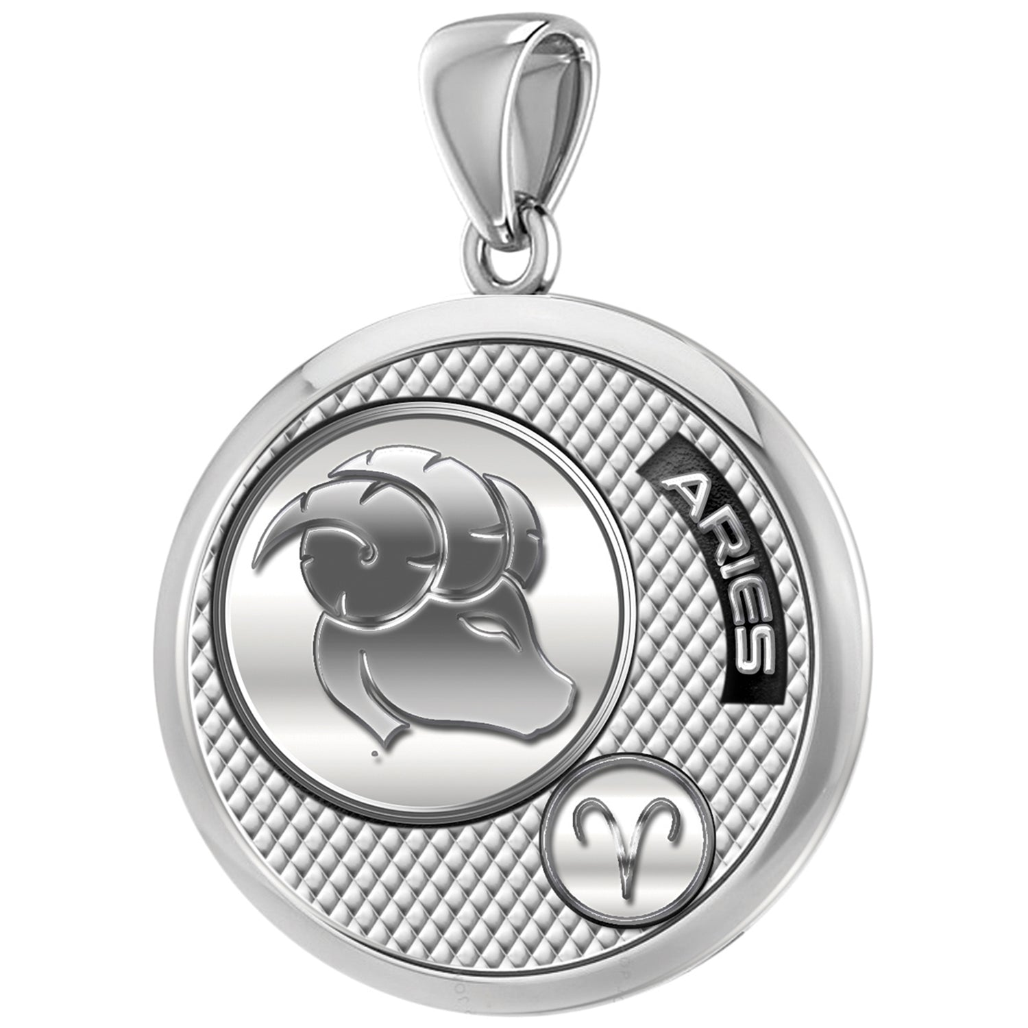 Aries Necklace In Round Shape - Pendant Only