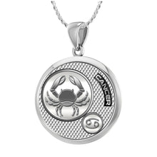 Zodiac Cancer Necklace In 925 Silver - 1.10mm Rope Chain