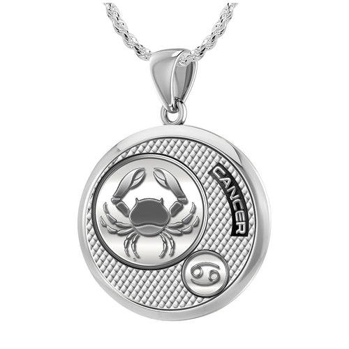 Zodiac Cancer Necklace In 925 Silver - 1.50mm Rope Chain