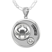 Zodiac Cancer Necklace In 925 Silver - 1.8mm Figaro Chain