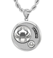 Men's 925 Sterling Silver Round Cancer Zodiac Polished Finish Pendant Necklace, 25mm