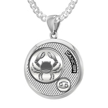 Zodiac Cancer Necklace In 925 Silver - 2.2mm Curb Chain