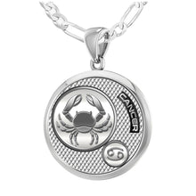 Zodiac Cancer Necklace In 925 Silver - 2.3mm Figaro Chain