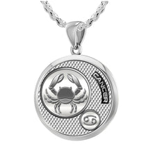 Zodiac Cancer Necklace In 925 Silver - 2.3mm Rope Chain