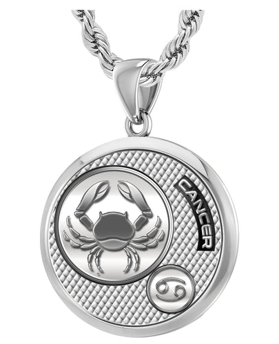Zodiac Cancer Necklace In Round - 3mm Rope Chain