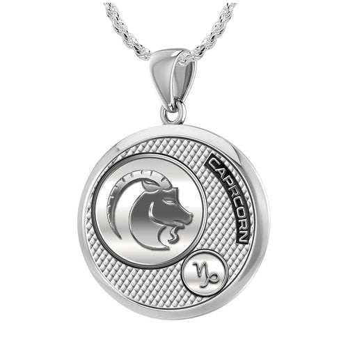 Capricorn Necklace In Silver  - 1.50mm Rope Chain