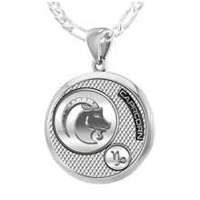 Capricorn Necklace In Silver - 1.8mm Figaro Chain