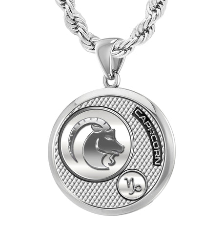 Men's 925 Sterling Silver Round Capricorn Zodiac Necklace
