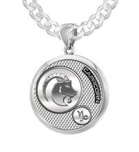 Men's 925 Sterling Silver Round Capricorn Zodiac Polished Finish Pendant Necklace, 25mm