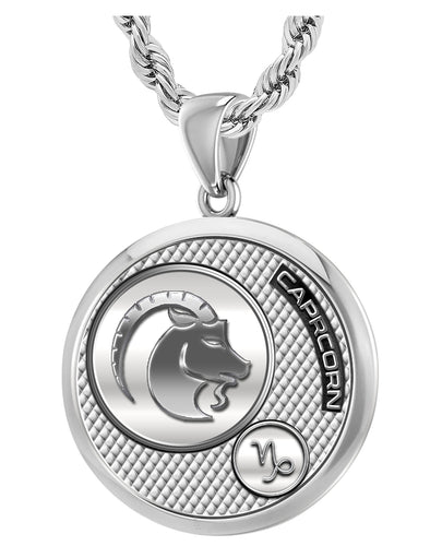 Capricorn Necklace In 925 Purity - 3mm Rope Chain