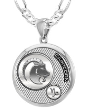 Capricorn Necklace In 925 Purity - 4mm Figaro Chain