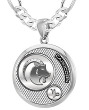 Capricorn Necklace In 925 Purity - 6mm Figaro Chain