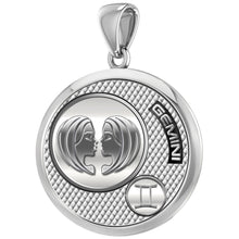 Men's 925 Sterling Silver Round Gemini Zodiac Polished Finish Pendant Necklace, 25mm