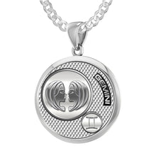 Gemini Necklace In 925 Sterling Silver - 2.2mm Curb Chain