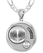 Men's 925 Sterling Silver Round Gemini Zodiac Polished Finish Pendant Necklace, 33mm