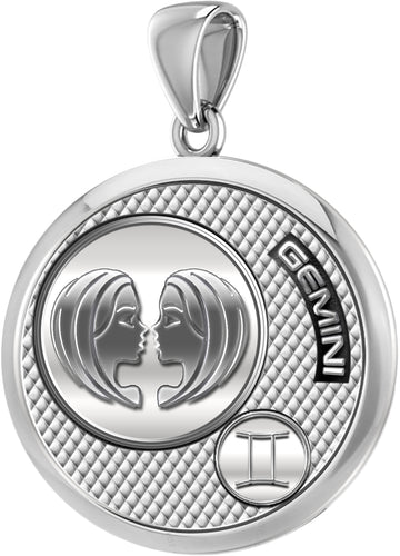 Gemini Necklace In 925 Sterling Silver - Pendant Only