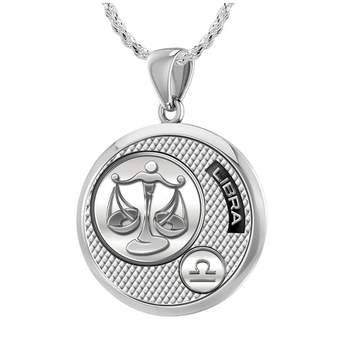 Libra Necklace Of Sterling Silver - 1.50mm Rope Chain