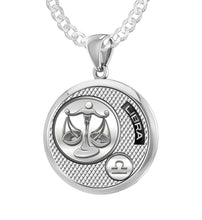 Men's 925 Sterling Silver Round Libra Zodiac Polished Finish Pendant Necklace, 25mm