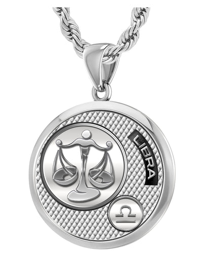 Libra Necklace In Silver With 925 Purity - 3mm Rope Chain