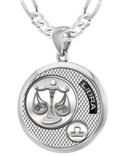 Libra Necklace In Silver With 925 Purity - 4mm Figaro Chain