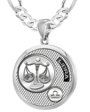 Libra Necklace In Silver With 925 Purity - 6mm Figaro Chain