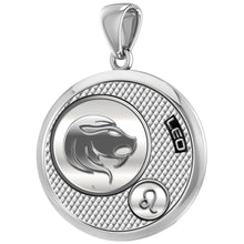 Men€™s 925 Sterling Silver Round Leo Zodiac Polished Finish Pendant Necklace, 25mm