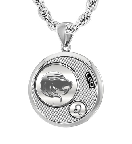 Men's 925 Sterling Silver Round Leo Zodiac Polished Finish Pendant Necklace, 25mm
