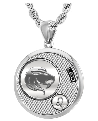Leo Zodiac Necklace Pendant With Chain - 3mm Rope Chain