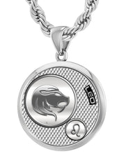Leo Zodiac Necklace Pendant With Chain - 4.4mm Rope Chain