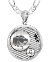 Leo Zodiac Necklace Pendant With Chain - 4mm Figaro Chain