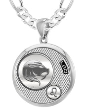 Leo Zodiac Necklace Pendant With Chain - 5.2mm Figaro Chain