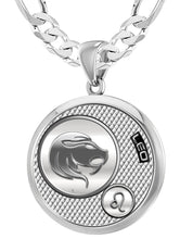 Leo Zodiac Necklace Pendant With Chain - 6mm Figaro Chain