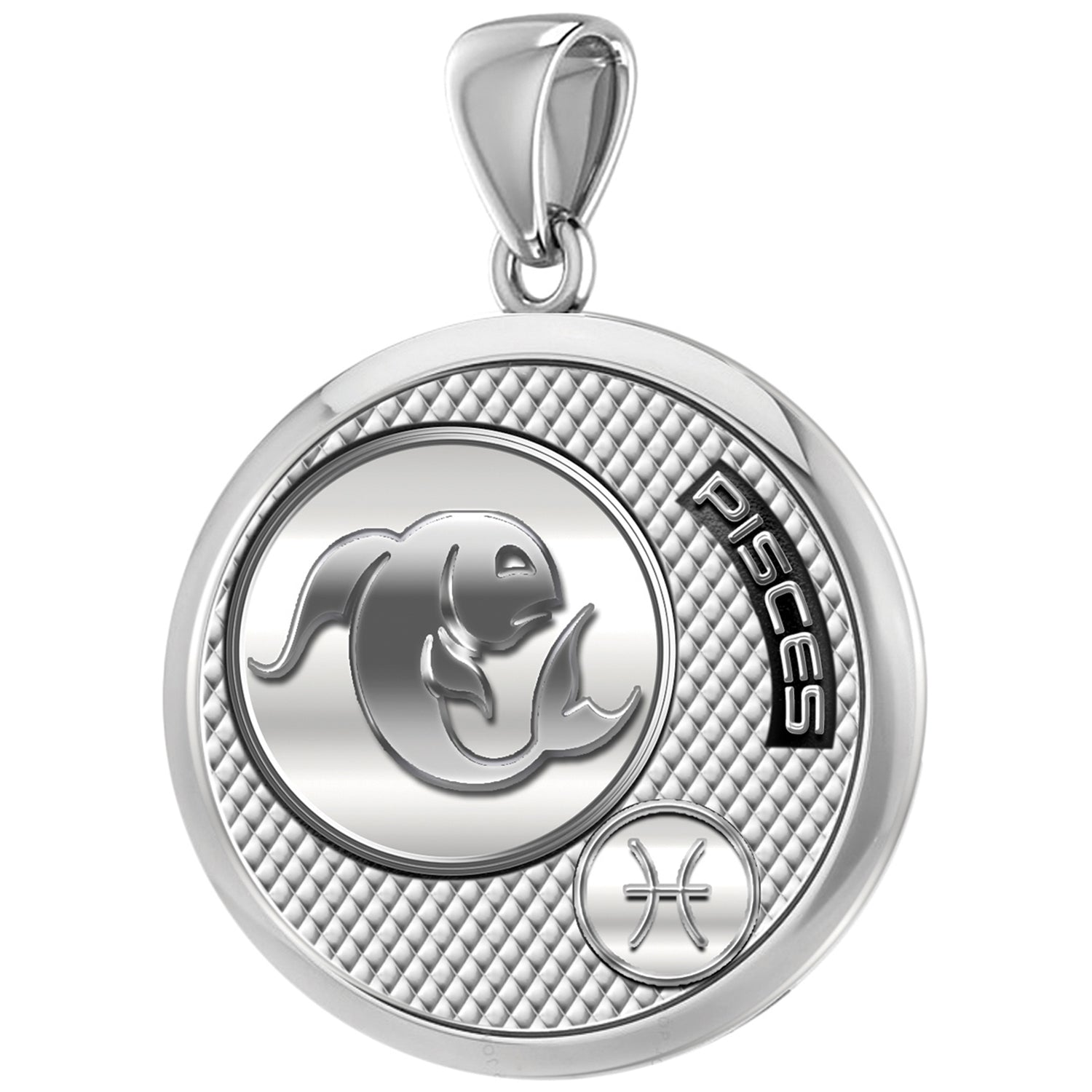Men's 925 Sterling Silver Round Pisces Zodiac Polished Finish Pendant Necklace