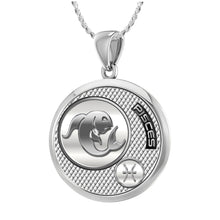 Pisces Necklace In Round For Ladies - 1.10mm Rope Chain