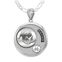 Pisces Necklace In Round For Ladies - 1.8mm Figaro Chain