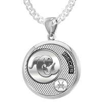 Men's 925 Sterling Silver Round Pisces Zodiac Polished Necklace