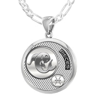 Men's 925 Sterling Silver Round Pisces Zodiac Polished Finish Pendant Necklace, 25mm