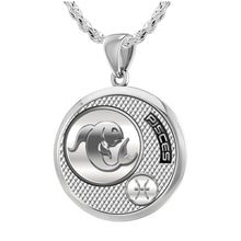 Pisces Necklace In Round For Ladies - 2.3mm Rope Chain
