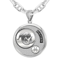 925 Sterling Silver Round Pisces Zodiac Polished Finish Necklace