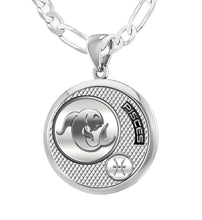Sterling Silver Round Pisces Zodiac Polished Finish Necklace