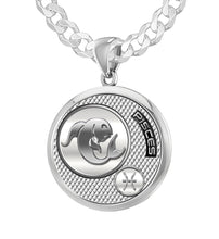 Silver Round Pisces Zodiac Polished Finish Necklace