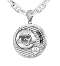 Men's 925 Sterling Silver Round Pisces Zodiac Necklace, 25mm
