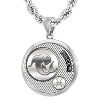 Men's Sterling Silver Round Pisces Zodiac Polished Finish Necklace