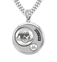 Men's 925 Sterling Silver Round Pisces Zodiac Pendant Necklace, 25mm