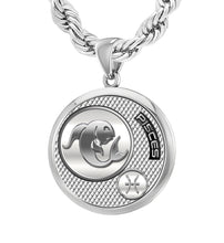 Men's Sterling Silver Round Pisces Zodiac Pendant Necklace