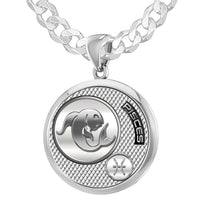 Men's 925 Sterling Silver Round Pisces Zodiac Polished Necklace, 25mm