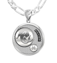 Men's 925 Sterling Silver Round Pisces Zodiac Necklace With Chain
