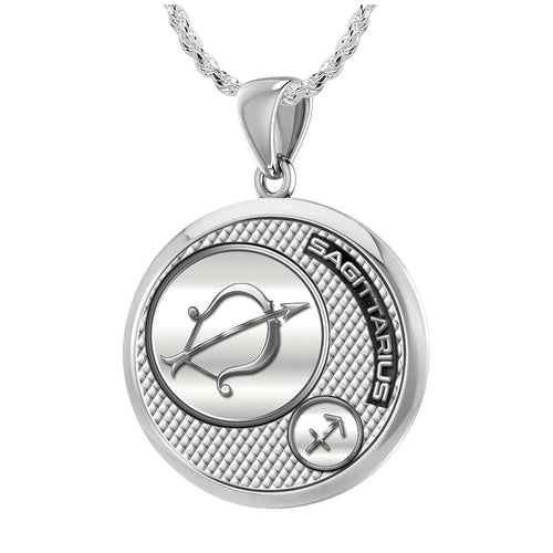 Sagittarius Necklace In Round Shape - 1.5mm Rope Chain